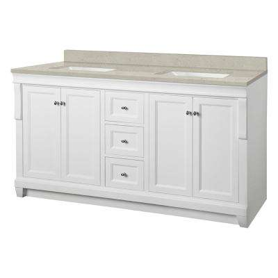 Naples 61 in. W x 22 in. Bath Vanity Cabinet in White with Engineered Quartz Vanity Top in Stoneybrook with White Sinks