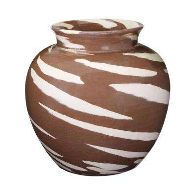 Caramel Tiger 13 in. Earthenware Decorative Vase in Brown