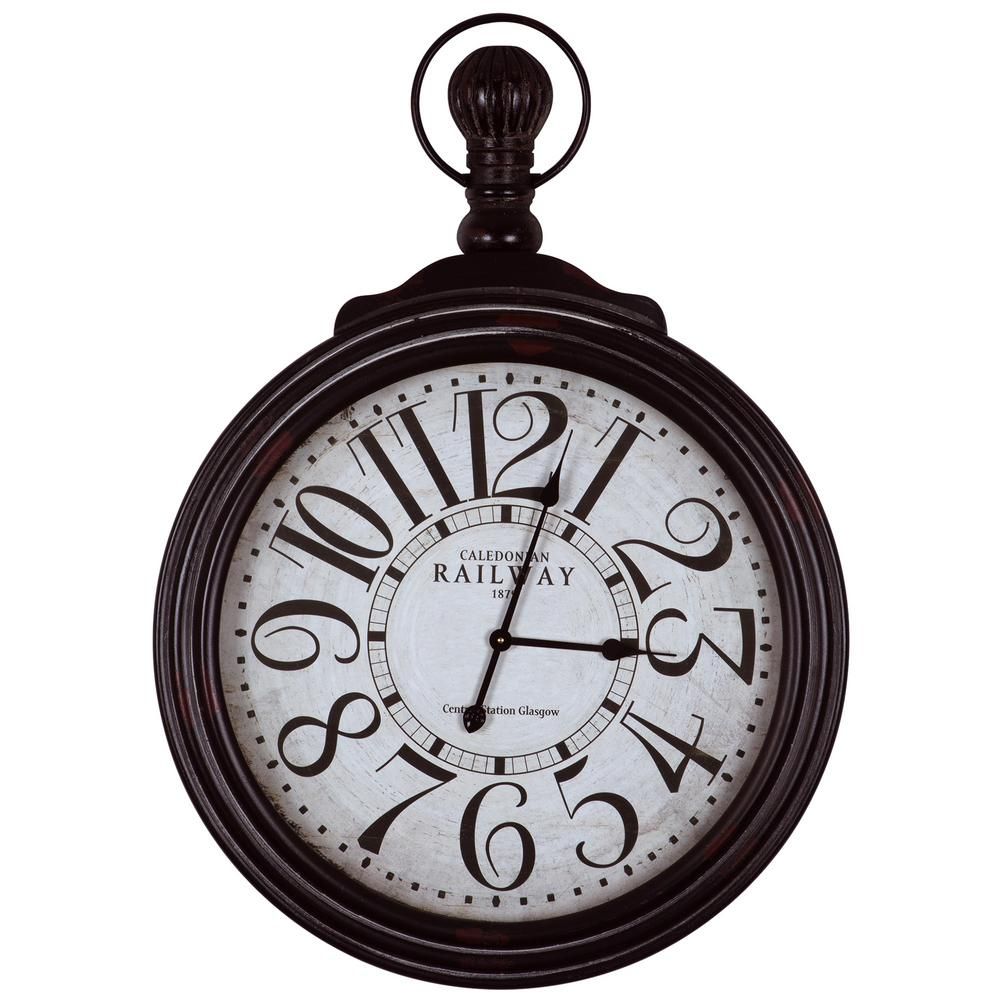 Yosemite Home Decor Caledonian Railway Black Oversized Wall Clock