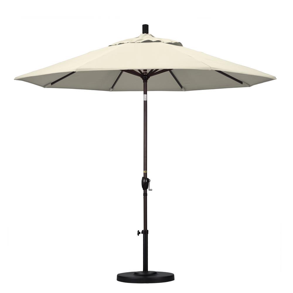 9 ft. Aluminum Push Tilt Patio Umbrella in Antique Beige Olefin