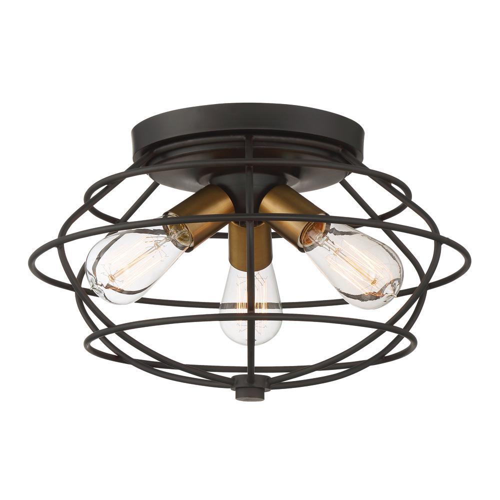 Jax 3-Light Vintage Bronze Interior Flushmount