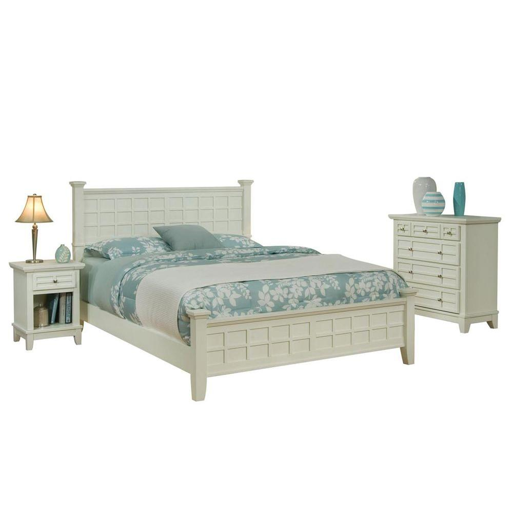 Home Styles Arts and Crafts White Queen Bed with 2 Nightstands and Chest