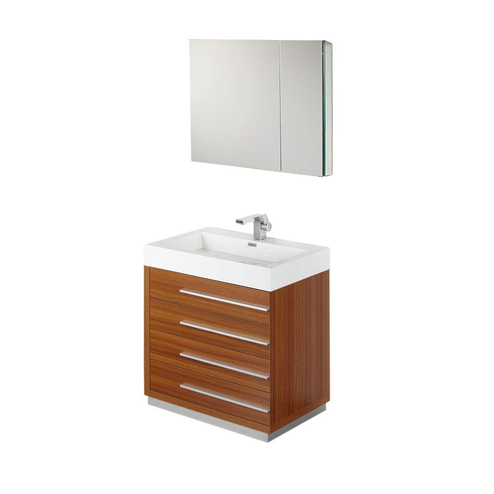 Fresca Livello 30 in. Vanity in Teak with Acrylic Vanity Top in White with White Basin and Mirrored Medicine Cabinet