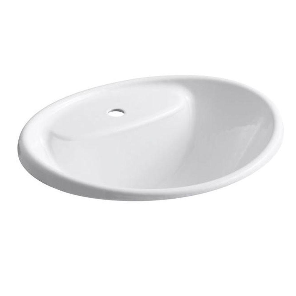KOHLER Tides Drop-In Cast Iron Bathroom Sink in White with Overflow on bathroom sink with water, bathroom sinks kohler toilet colors, bathroom vanity wall mirror, bathroom fixtures by kohler, bathroom drop in sink closeout,