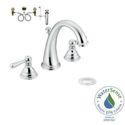 Kingsley 8 in. Widespread 2-Handle High-Arc Bathroom Faucet Trim Kit with Valve in Chrome