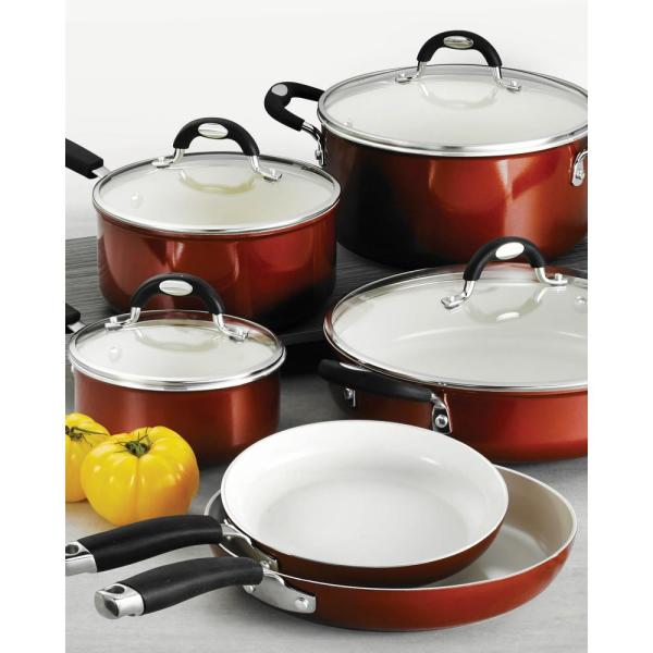 Style Ceramica 10-Piece Aluminum Ceramic Nonstick Cookware Set in Metallic Copper