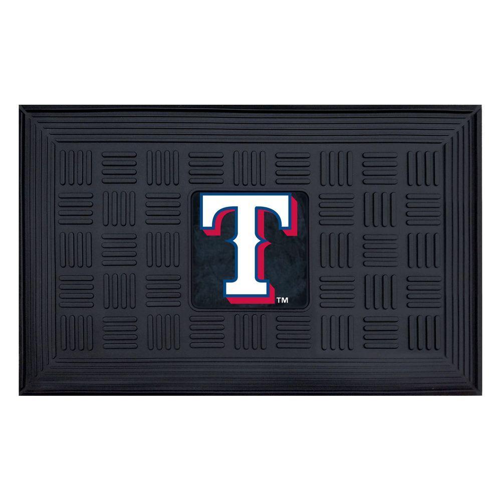 MLB Texas Rangers Black 19 in. x 30 in. Vinyl Indoor/Outdoor Door Mat