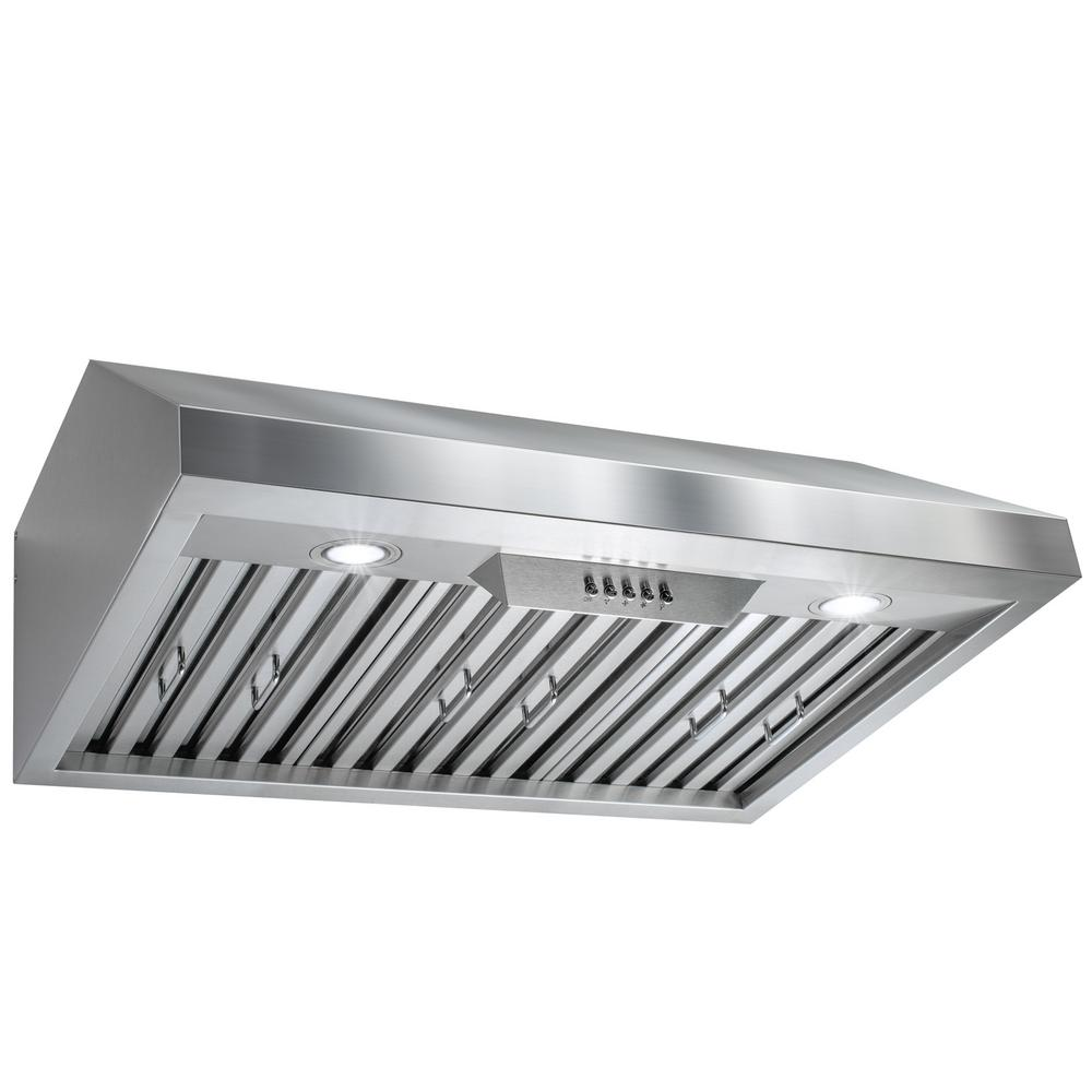 AKDY 30 In. Under Cabinet Range Hood In Stainless Steel With LEDs And  Electronic Push