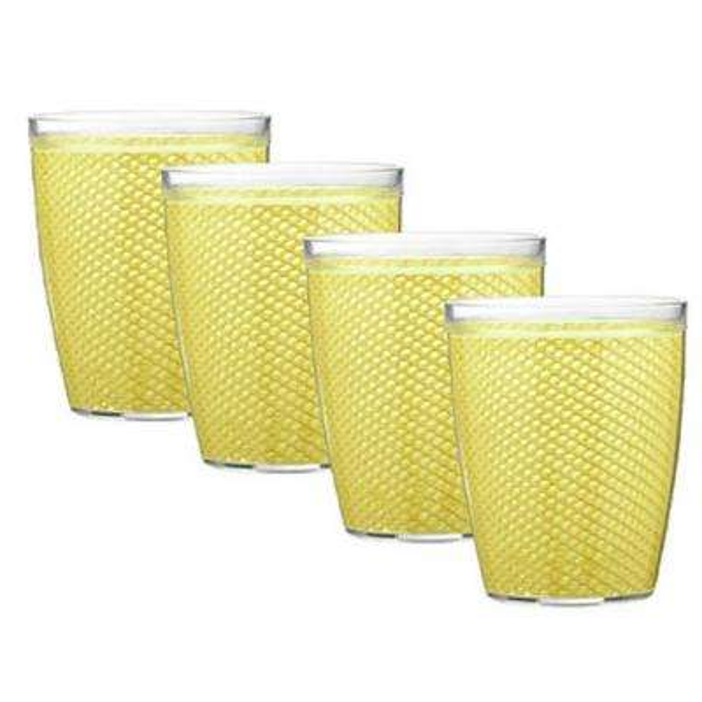 Fishnet 14 oz. Lemon Insulated Drinkware (Set of 4)
