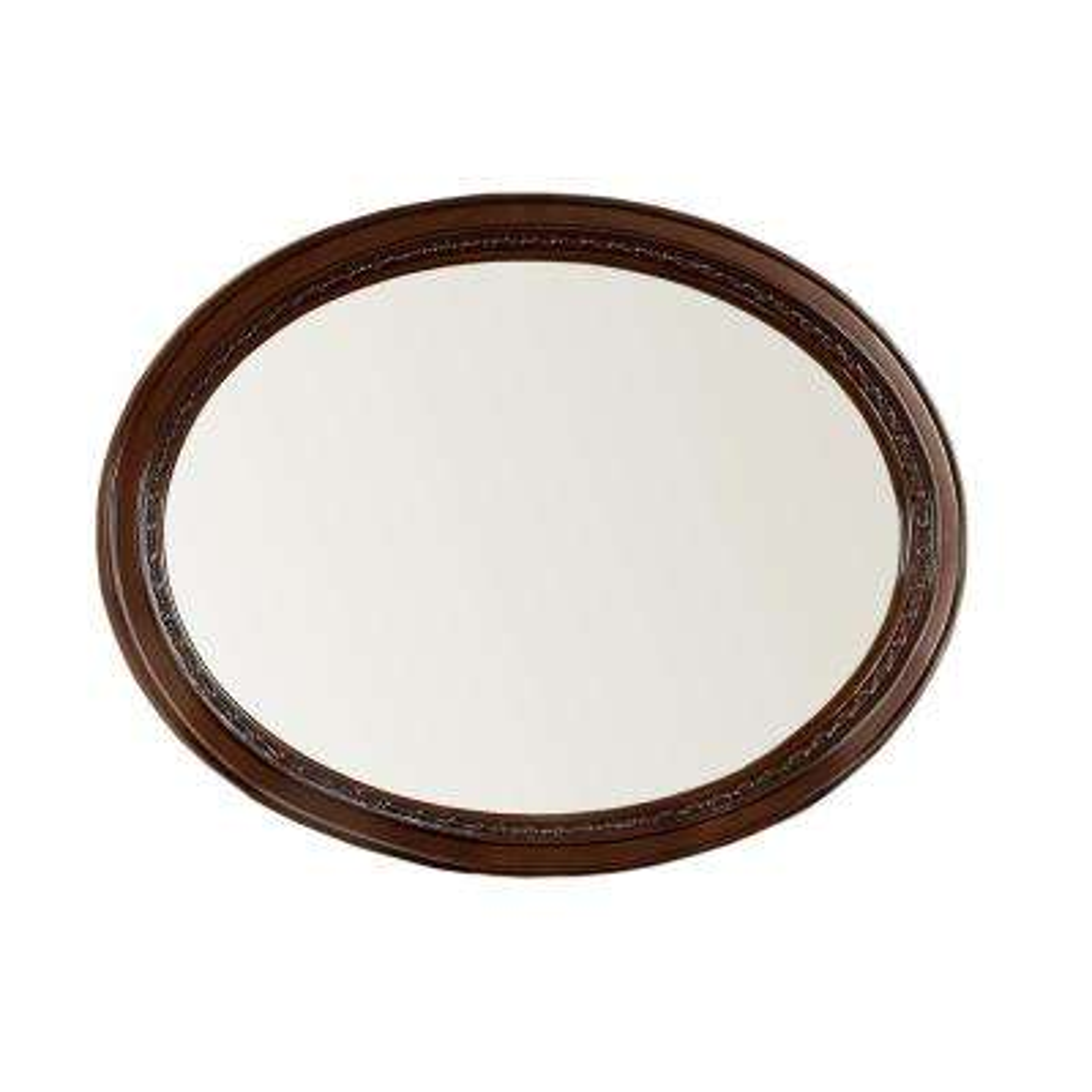 Barber 37 in H in x 49 in W Oval Wood Framed Wall Mirror