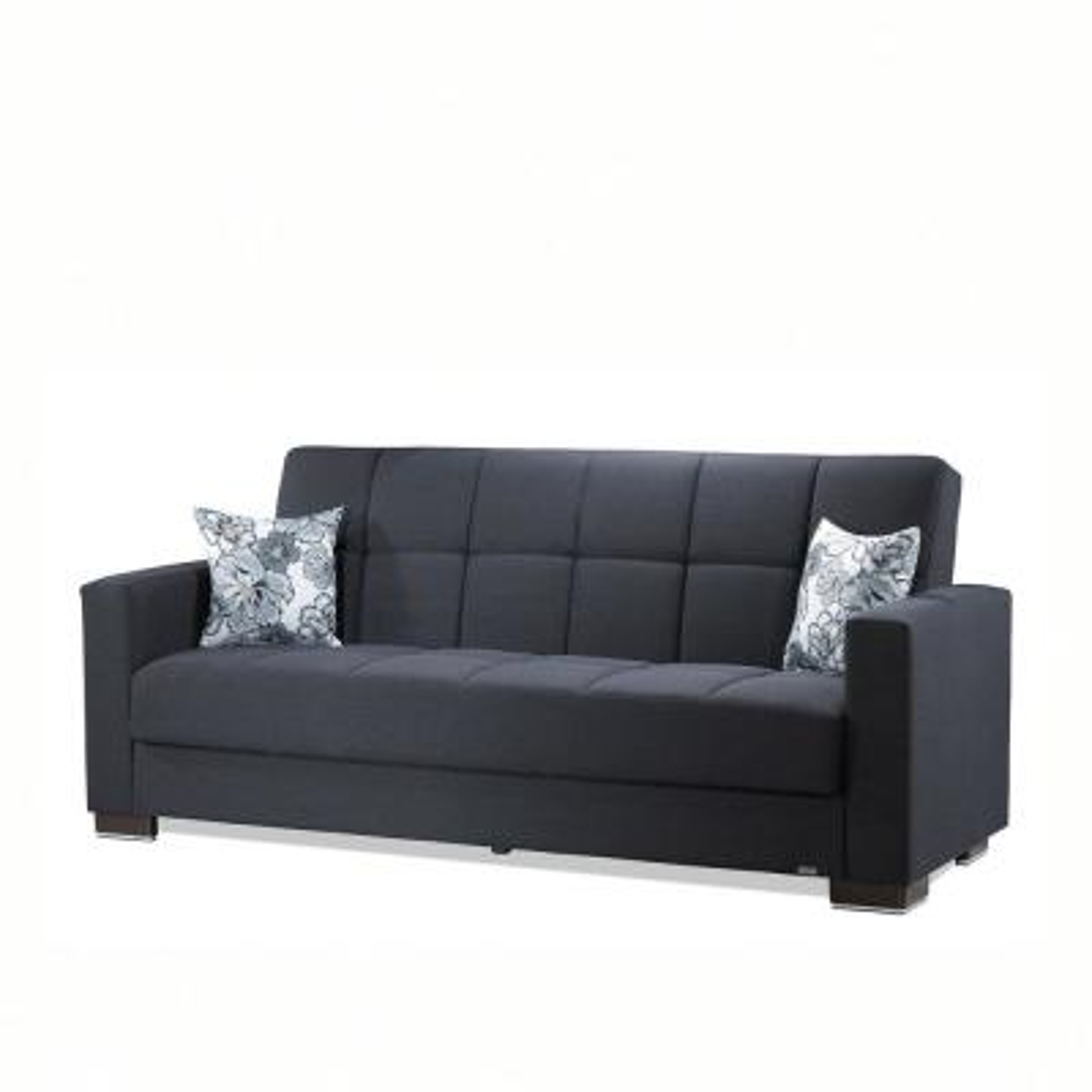Armada Dark Blue Fabric Upholstery Sofa Sleeper Bed with Storage