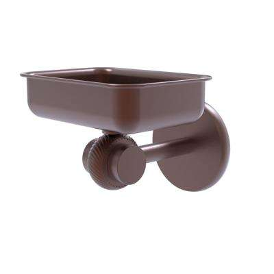 Satellite Orbit 2-Collection Wall Mounted Soap Dish with Twisted Accents in Antique Copper