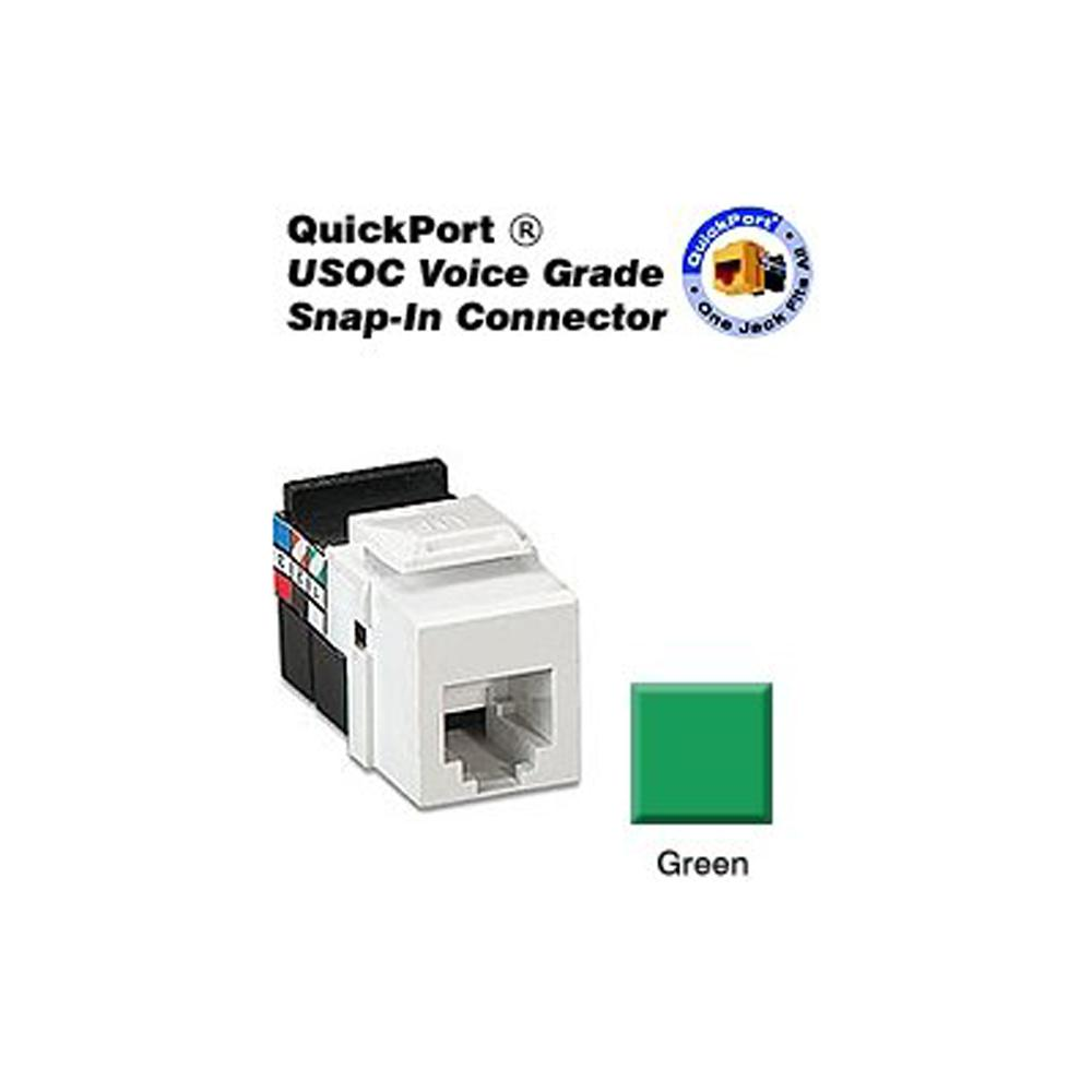 leviton quickport 6p6c voice grade connector green 41106 rv6 the rh  homedepot com voice data jack wiring