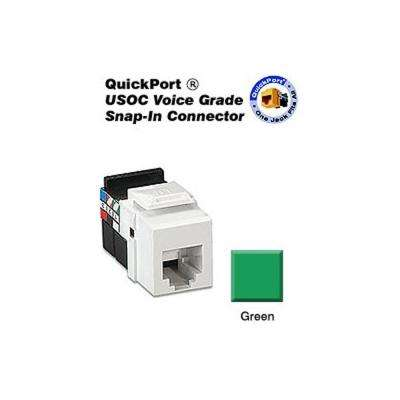 QuickPort 6P6C Voice Grade Connector, Green