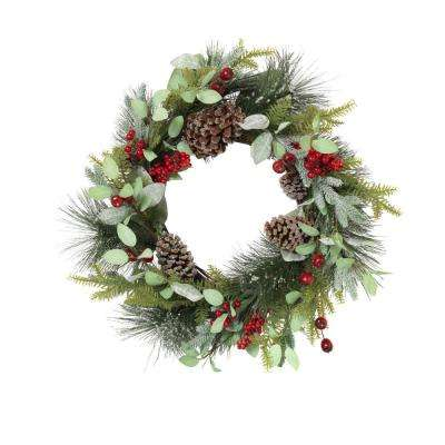 24 in. D Frosted Pine Wreath with Pine Cones and Berries