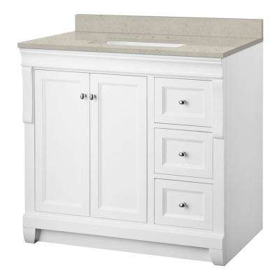 Naples 37 in. W x 22 in. Bath Vanity Cabinet in White with Engineered Quartz Vanity Top in Stoneybrook with White Sink