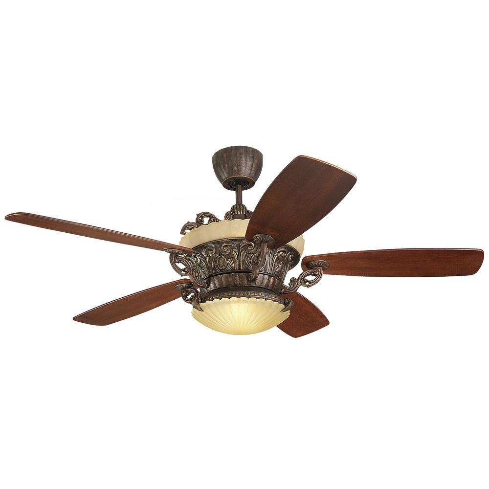 Indoor Tuscan Bronze Ceiling Fan With Walnut Veneer Blades And