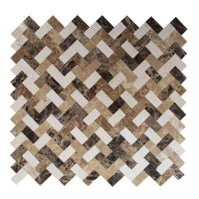 Trail Mix Mixed Browns 12,09 in. x 11,65 in. x 5 mm Stone Self Adhesive Wall Mosaic Tile
