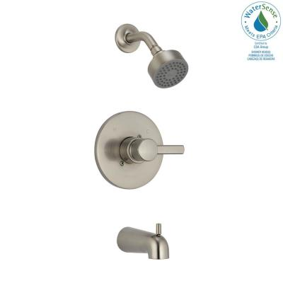 Precept 1-Handle Wall-Mount Tub and Shower Faucet Trim Kit in Brushed Nickel (Valve Not Included)