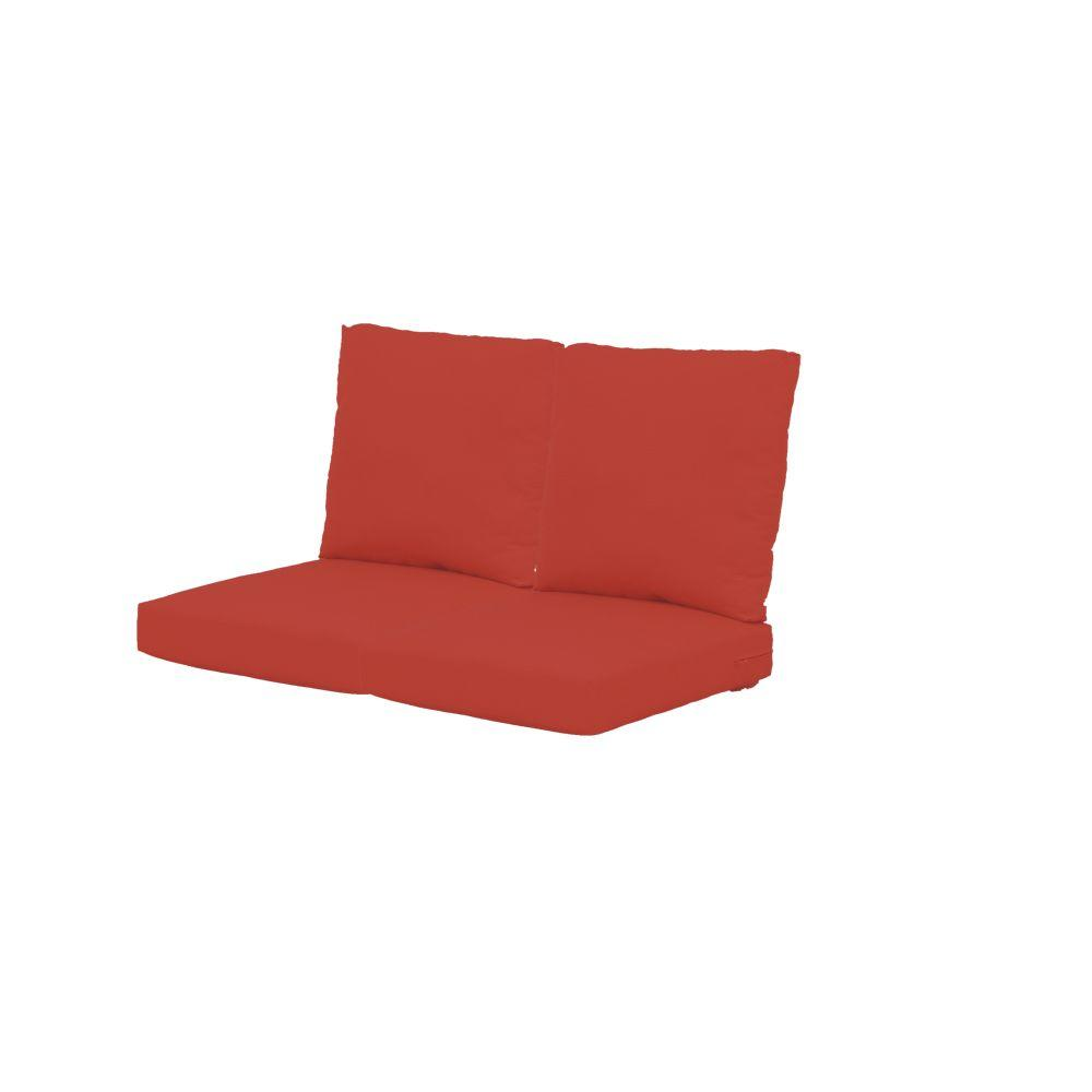 Hampton Bay Beverly Dragon Fruit Replacement Outdoor Loveseat Cushions