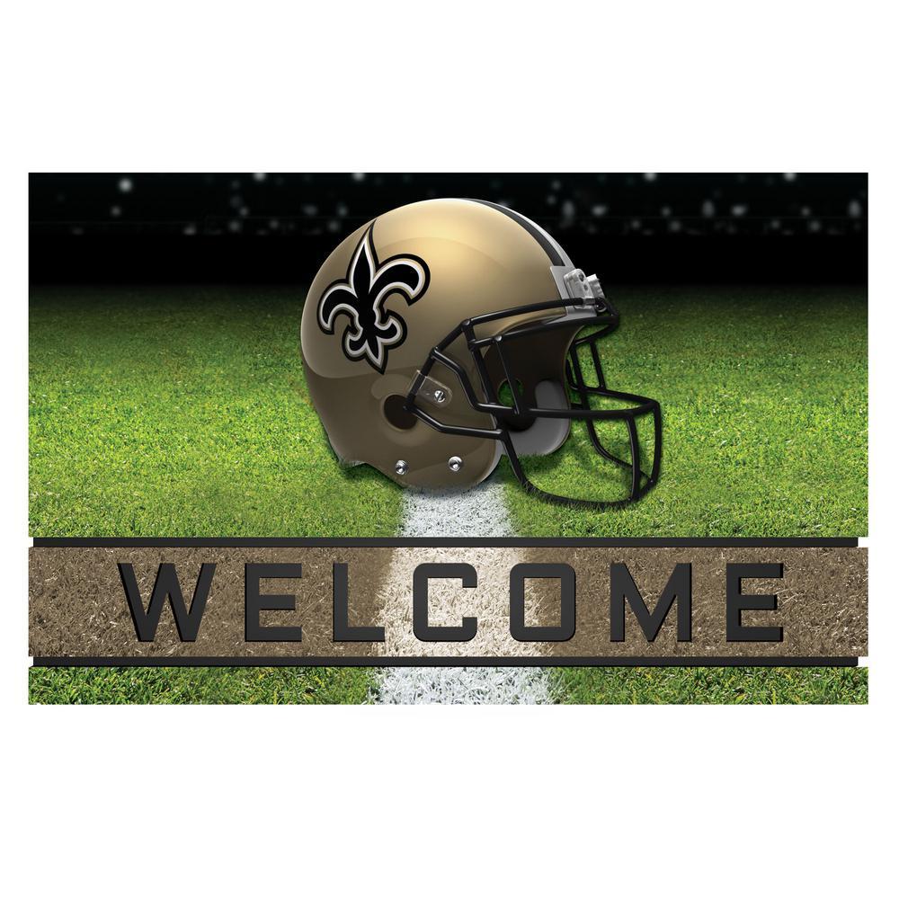 NFL - New Orleans Saints 18 in. x 30 in. Rubber Door Mat