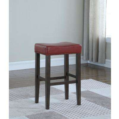 Jersey 29 in. Crimson Cushioned Bar Stool