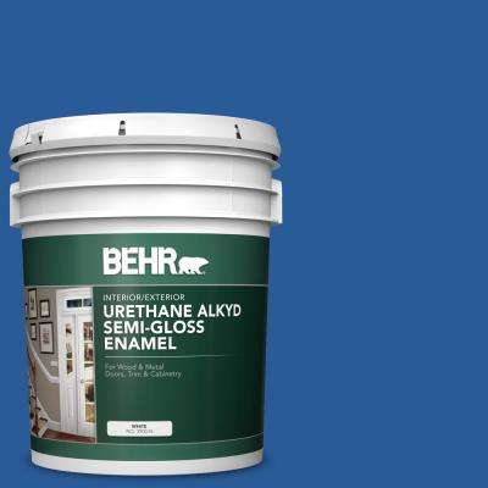 5 gal. #P510-7 Beacon Blue Urethane Alkyd Semi-Gloss Enamel Interior/Exterior Paint