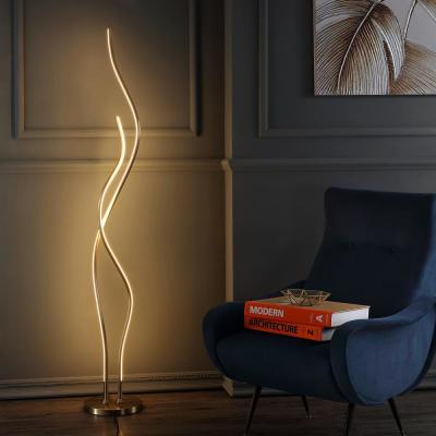 Cairo 63.75 in. Gold LED Integrated Floor Lamp