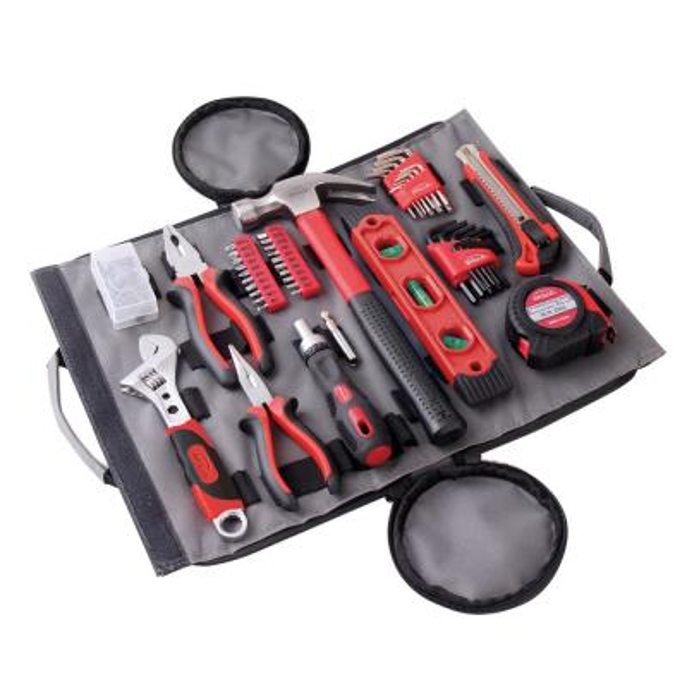 Portable Orange 39 Piece Tool Set General Household Hand Tool Kit w// Black Case