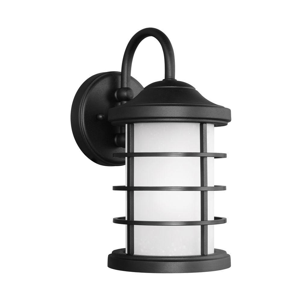 Sauganash 1-Light Black 12.25 in. Wall Lantern Sconce