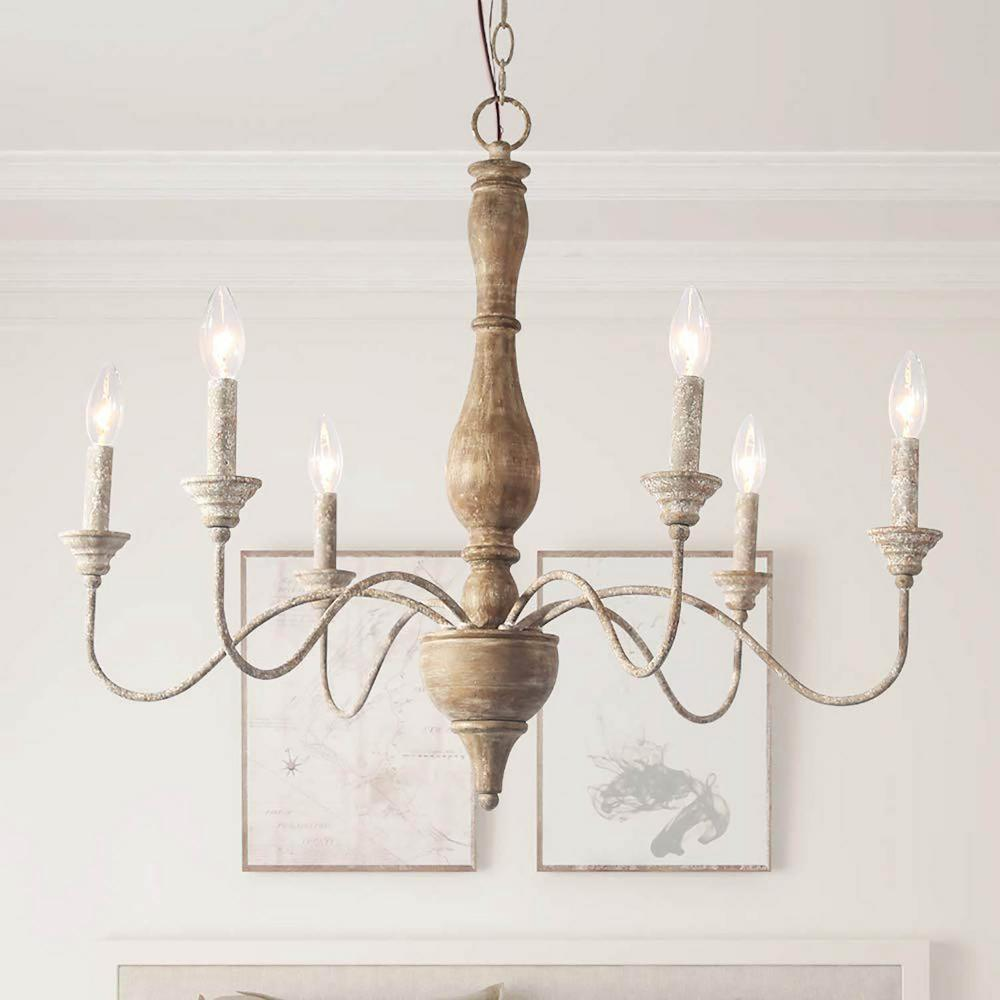 Lnc 6 Light Rustic Farmhouse Wood Chandelier 29 5 In W With Antique White French Country Accents And Classic Candle Style A03472 The Home Depot,Kitchenaid Dishwasher Filter