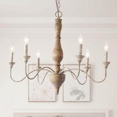 6-Light Rustic Farmhouse Wood Chandelier 29.5 in. W with Antique White French Country Accents and Classic Candle Style