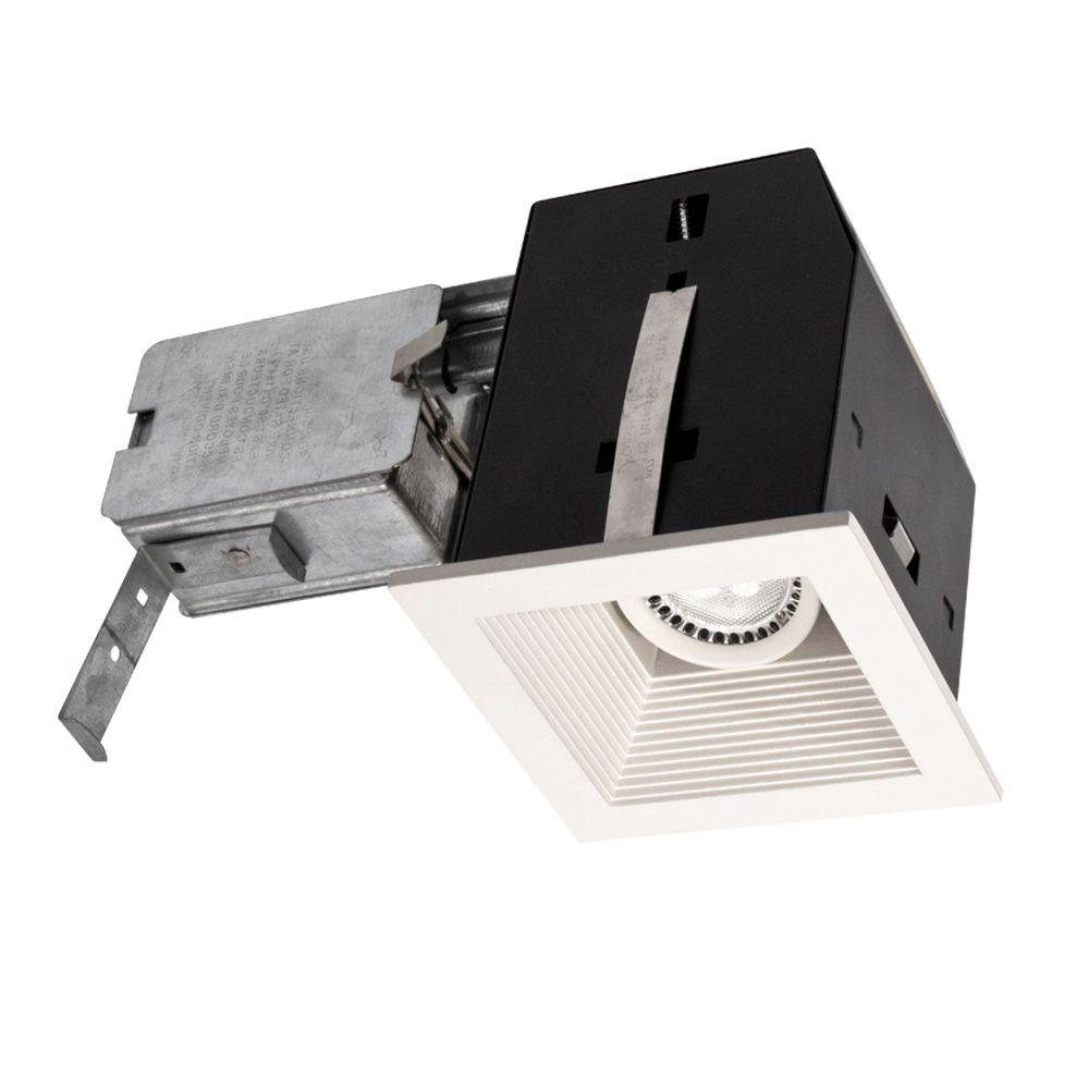 BAZZ Cube Series 4 in. Matte White LED Recessed Complete Fixture Kit