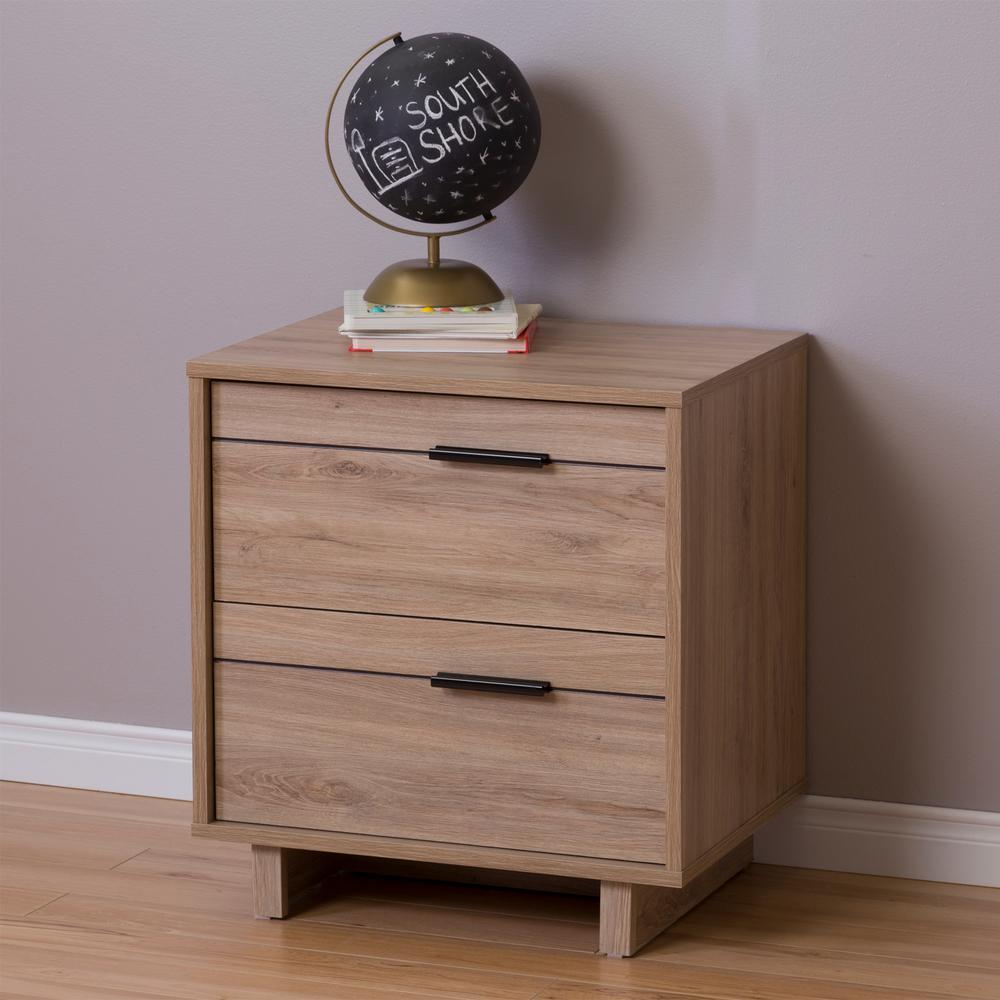 South Shore Fynn 2-Drawer Rustic Oak Nightstand 9067060