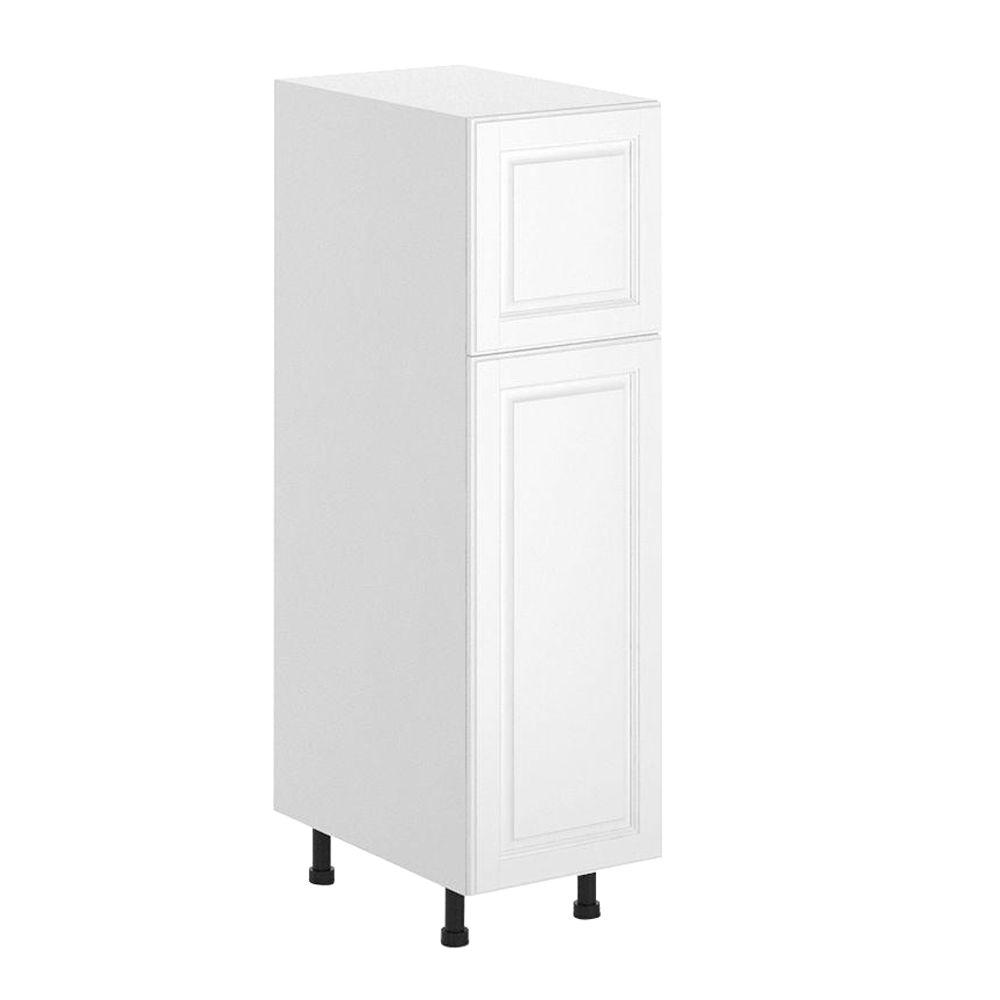 Fabritec Birmingham Ready to Assemble 15 x 49 x 24.5 in. Pantry/Utility Cabinet in White Melamine and Door in White