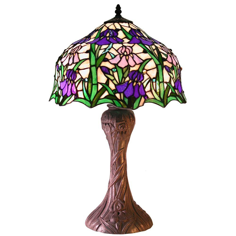 Warehouse Of Tiffany Iris 23 In Style Blue Indoor Table Lamp With Pull Chain