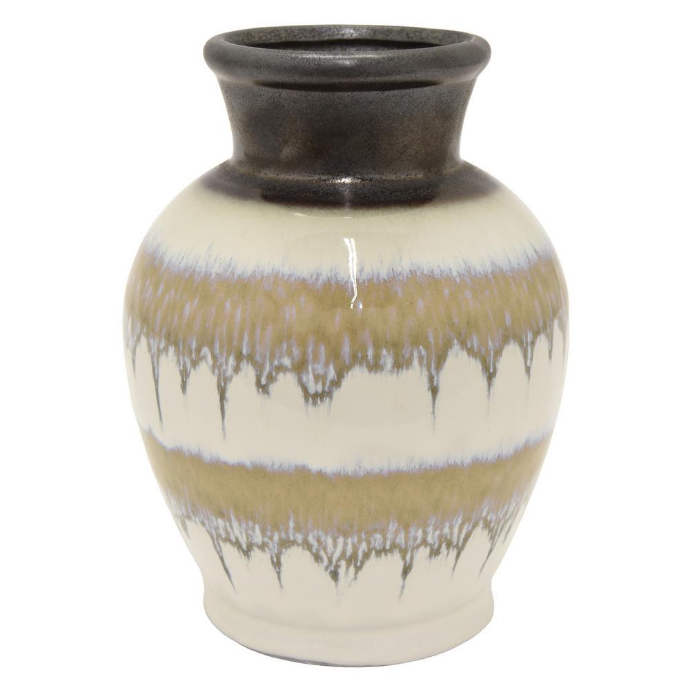 11 in. Porcelain Brown Ceramic Ceramic Vase