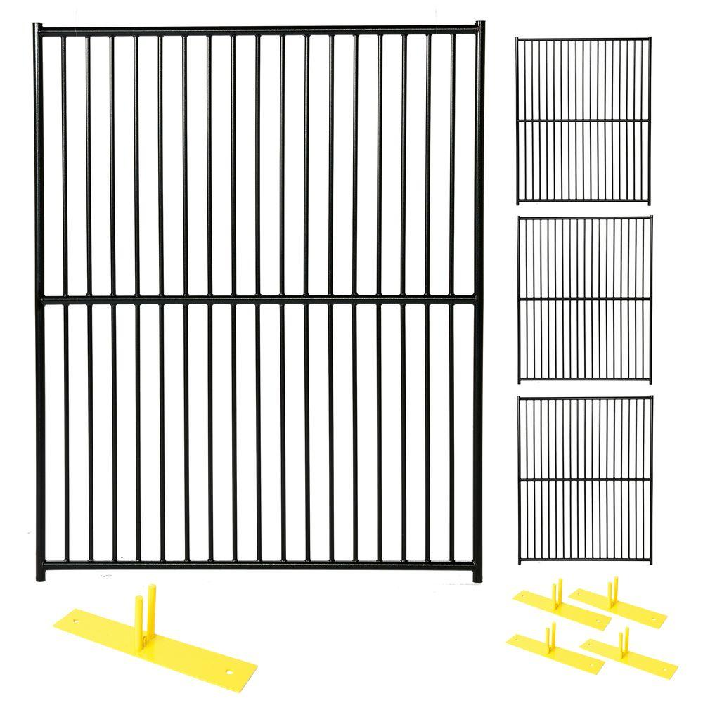 Perimeter Patrol 6 ft. x 20 ft. 4-Panel Black Powder-Coated European ...