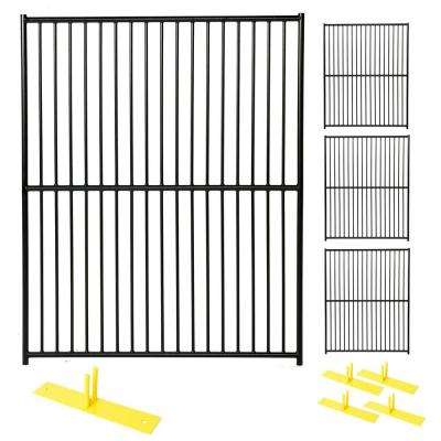 6 ft. x 20 ft. 4-Panel Black Powder-Coated European Style Welded Wire Temporary Fencing
