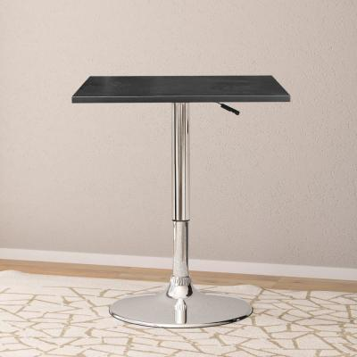 Adjustable Height Black Swivel Square Bar Table