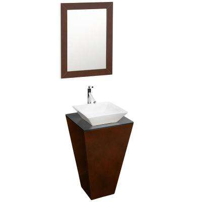 Esprit 20 in. Vanity in Espresso with Glass Vanity Top in Black and Mirror