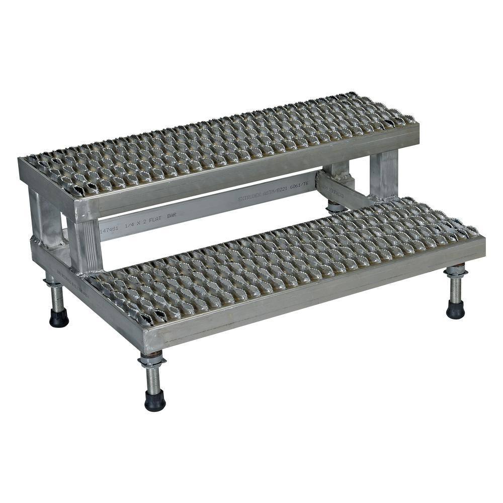 Vestil 36 inch x 23 inch 2 Step Adjustable Stainless Steel Step Mate Stand by Vestil