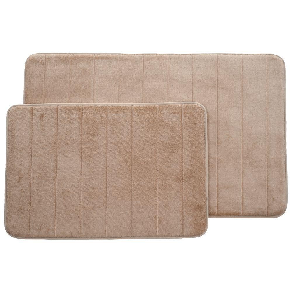 Lavish Home Taupe 20.25 in. x 32.25 in. Memory Foam 2-Piece Bath Mat ...