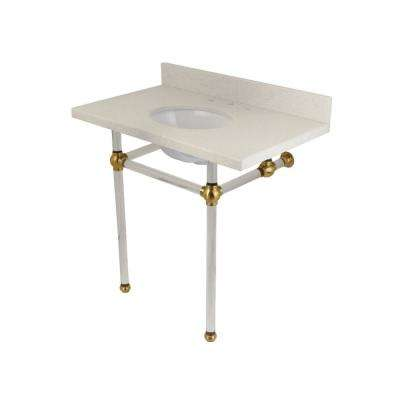 Washstand 36 in. Console Table in White Quartz with Acrylic Legs in Satin Brass