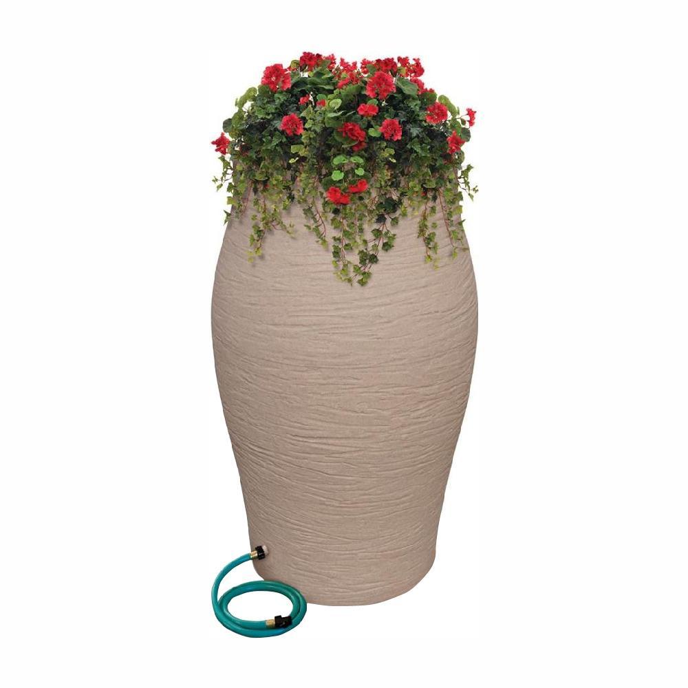 60 Gal. Sandstone Decorative Rain Barrel Kit with Planter and Diverter System