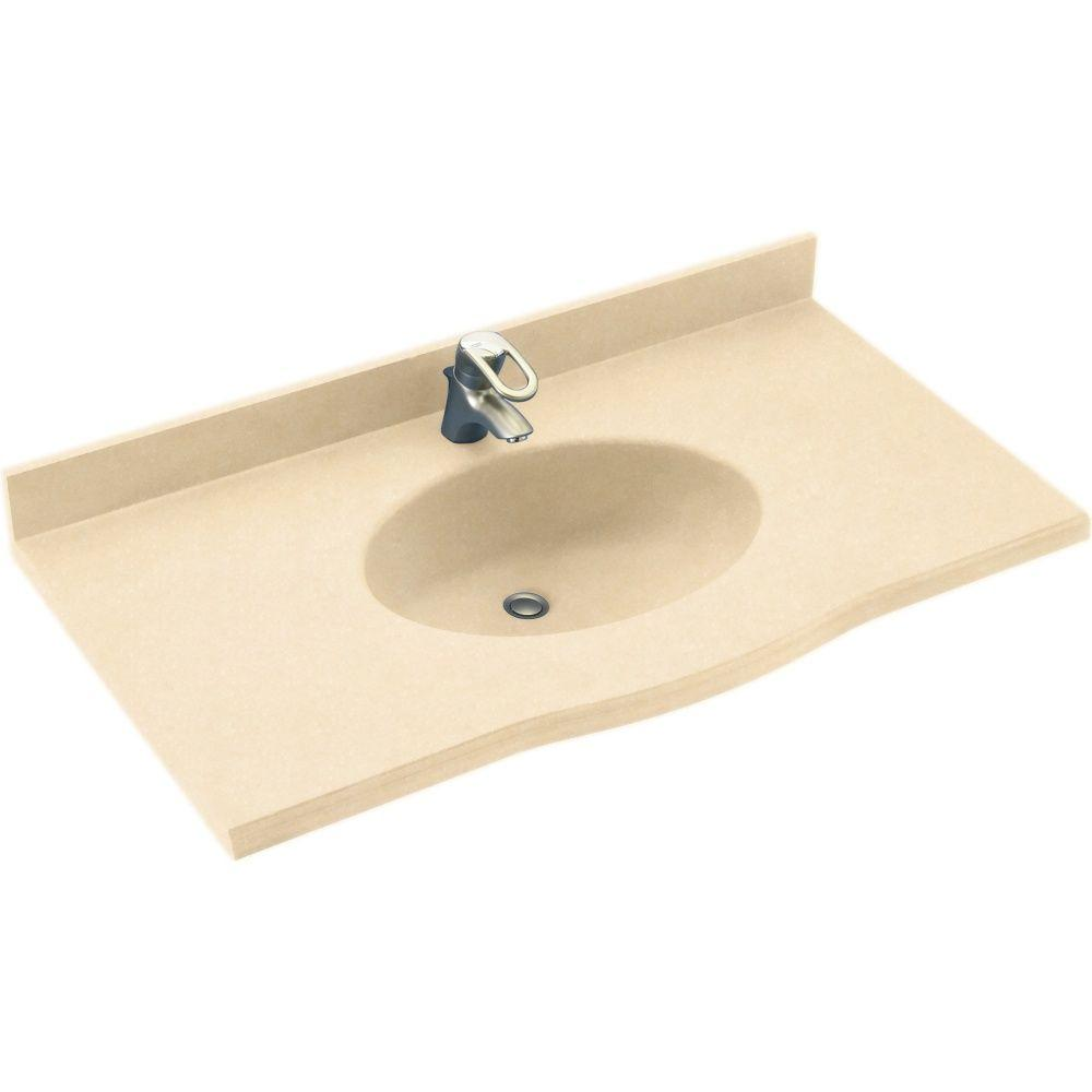 Swanstone Europa 49 in. Solid Surface Vanity Top with Basin in Tahiti Terra-DISCONTINUED