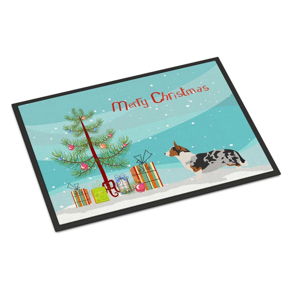 18 in. x 27 in. Indoor/Outdoor Welsh Corgi Cardigan Christmas Door Mat