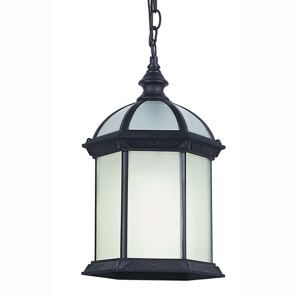 Bel Air Lighting Energy Saving 1-Light Outdoor Hanging Black Lantern with Frosted Glass