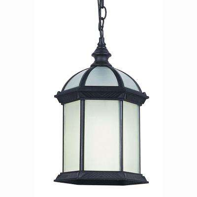 Energy Saving 1-Light Outdoor Hanging Black Lantern with Frosted Glass