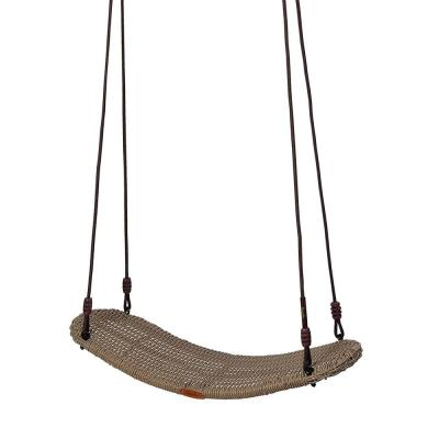 Chill 30 in. Curved Sand Rattan Wood Patio Swing